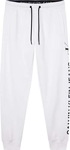 Calvin Klein Jeans CK Vertical Logo HWK Pant Tuta da Ginnastica, Bianco Brillante, L Uomo
