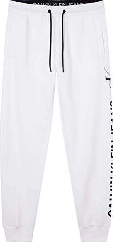 Calvin Klein Jeans CK Vertical Logo HWK Pant Chndal, Blanco Brillante, M para Hombre