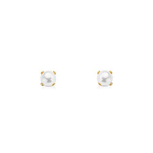 Monde Petit T1772P - Pendientes de bebe/niña oro 18 kts. patillas perla 4 mm.