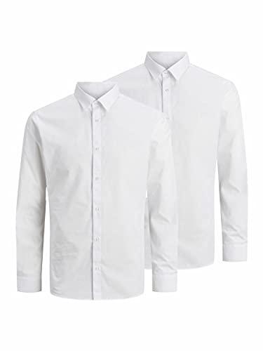 Jack & Jones Jjjoe Shirt LS 2 Pack Camisa de Vestir, Blanco, L (Pack de 2) para Hombre