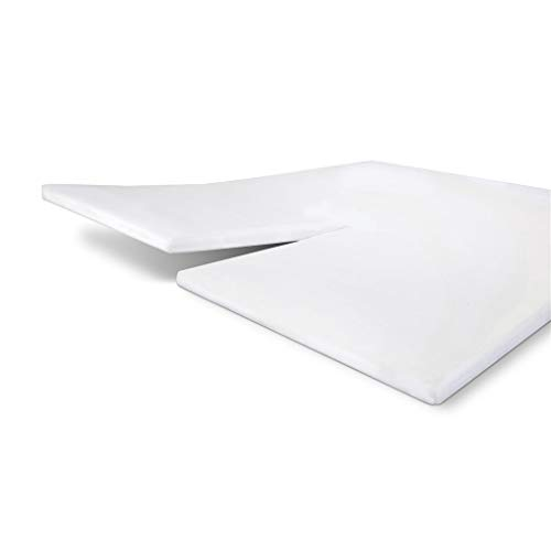 Byrklund Molton Matratzenschoner Split-Topper 180x200, 100% Baumwolle Spannbettuch, Perfekte Matratzenpassform, Weiches Gefühl, Knitter- & Bügelfrei - Weiß