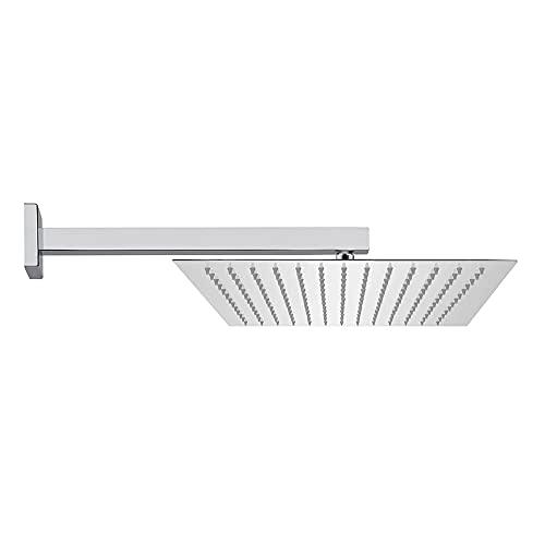 Soffione doccia con braccio a parete, acciaio INOX 304, design quadrato, ugelli anticalcare