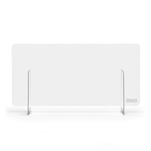 Portable Lightweight Sneeze and Cough Protective Plexiglass Desk Shield Guard for Counters | (47' x 26' x 12') Clear Acrylic | Sales/Reception Protection Barrier for Employers, Workers & Customers