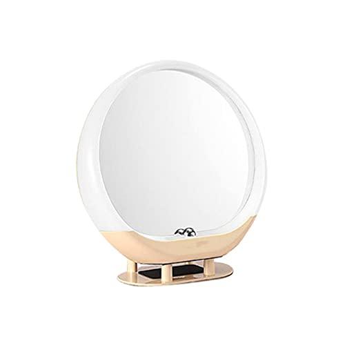 Espejo de maquillaje LED con pantalla táctil Altavoz de audio inalámbrico recargable Lámpara de mesa Radio Luz Ambiente Herramienta cosmética para el hogar montaje en pared amarillo
