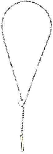 LBBYLFFF Collar Hombre s Collar Mujer Colgante Collar Fion Simple Personalidad Collar Anillo de Metal Cadena Corta Botones Femeninos Collar Niños Niñas Regalo
