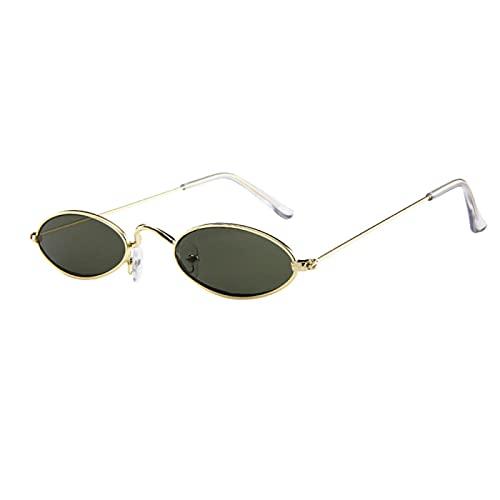 NJJX Verano Casual Gafas Moda Hombre Mujer Gafas Retro Pequeñas Gafas De Sol Ovaladas Marco De Metal Sombras Gafas Gafas De Sol F