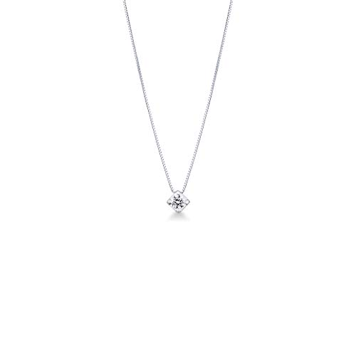 Gioielli di Valenza - Collana Punto Luce in Oro Bianco 18k con Diamante carati 0,25 - PU22025BB