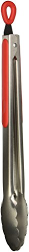 "Cooks on Fire 12"" Professional 1.0mm Stainless Tongs, Red"