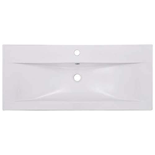 Tidyard Lavabo Encastrado de Cerámica Blanco 91x39,5x18,5 cm