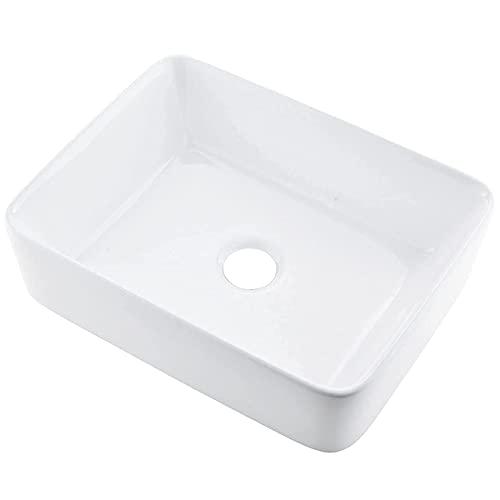 "VCCUCINE 19""x15"" Rectangle Above Counter Porcelain Ceramic Bathroom Vessel Vanity Sink Art Basin"