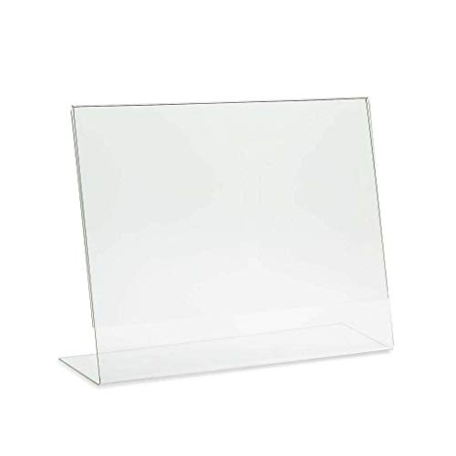 RY DISPLAY 6 Pack Clear Acrylic 8.5 X 11 Inches Acrylic Slant Back Sign Holder,Picture Frames,Desktop Document Acrylic Holder Table Single Sheet Portrait Ad Frames for Home, Office, Store(Horizontal)