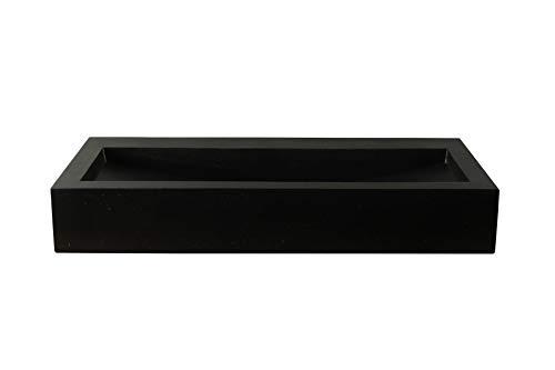 BadezimmerExklusiv Terrazzo Aufsatz-Waschbecken schwarz 90 cm TZS 034Szk
