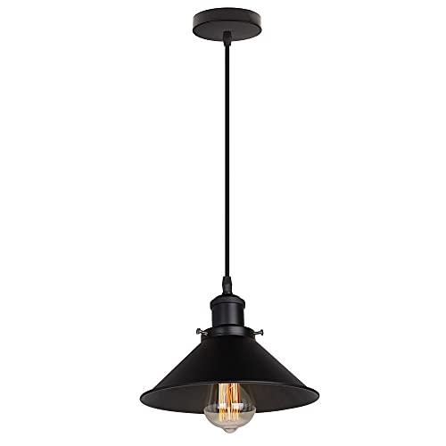 Lámpara Colgante Industrial Vintage Luz de Techo E27 Negro Metal Iluminación Interior Creativo Ø22cm para Salon Dormitorio Restaurante Sala Comedor Cocina, Cable Ajustable (1 pieza)