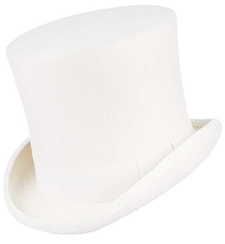 GEMVIE Zylinder Hut Herren Zylinderhut Weiß Damen Fedora Hut für Fasching Hochzeit Mottoparty Partyhut