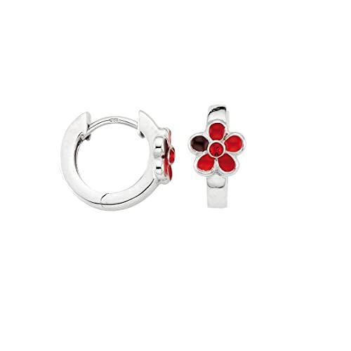 Aros de plata 925 rodiada con flor roja BCR901831
