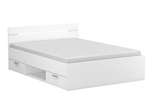 PEGANE Lit Adulte avec Rangement Coloris Blanc Mat - 144,1 x 74,2 x 194,7 cm