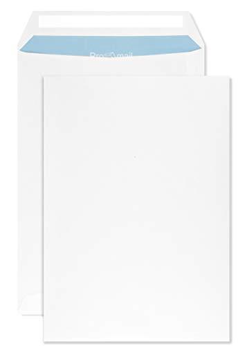 500 weiße Versandtaschen B5 mit blauem Innendruck 176x250 mm gerade Klappe haftklebend ohne Fenster 90g Brief-Umschläge in Großbrief Format B5 Briefhüllen Geschäfts-Umschläge groß weiß