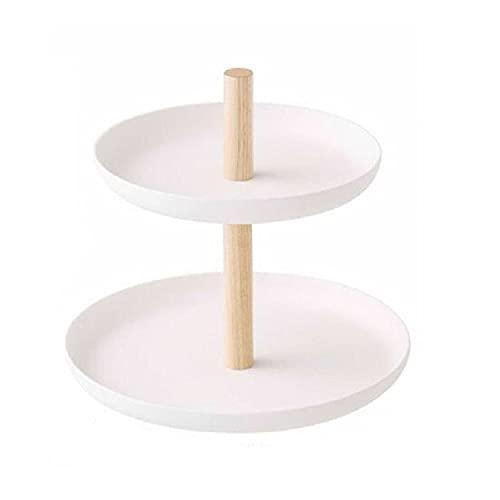 Plato de baratija, 2 niveles, duradero plato de joyería de cerámica, soporte de joyería decorativo para anillo, pendiente, pulsera y collar, placa de exhibición de postre para decoración de boda