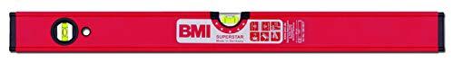BMI Alu-Profil Wasserwaage Superstar (80 cm lang, Oberfläche pulverbeschichtet, kantenlose Horizontal-Libelle, hohe Messgenauigkeit 0,5 mm/m, mit Gummiendkappen) 696080P