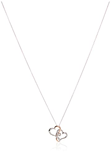 """Sterling Silver Two Tone Double Heart Pendant Necklace Made with Swarovski Crystal (18"""")"""
