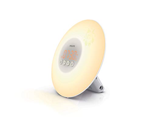 Philips HF3503/01 Wake-up Light voor Kids (LED, wakker worden met licht, lichttoetsen, sticker) wit