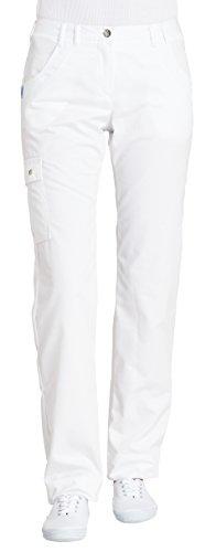 clinicfashion 10614016 Hose Damen weiß, elastischer Bund, Schenkeltaschen, Langgröße, Mischgewebe, Größe 38L