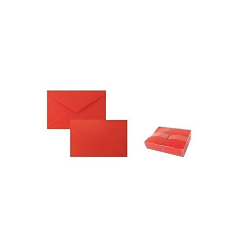 Set da 100 buste e biglietti misura 9x14cm, set 100 biglietti e buste colore rosso misura 9 per biglietto di auguri, kit da 100 buste mis. 9x14cm complete di biglietti d'invito opalina col. rosso