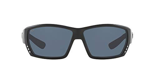Costa Del Mar Men's Tuna Alley 580P Polarized Rectangular Sunglasses, Blackout/Grey Polarized-580P, 62 mm