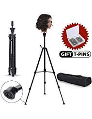 Klvied Metal Adjustable Tripod Wig Stand, Mannequin Head Holder Stand, Canvas Block Wig Head Stand, for Hairdryer, Hair Salon, Hairdressing, Cosmetology Training with T-Pins, Portable Travel Bag, Blac