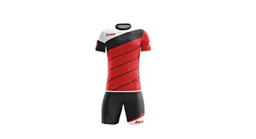 Zeus Kit Lybra Uomo Completino Completo Calcio Calcetto Torneo Scuola Sport Training (rosso-nero-bianco, L)