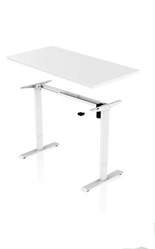 Könighaus Ergonomischer Schreibtisch - Elektrisch Höhenverstellbar (Weißes Gestell mit Weißer Tischplatte)