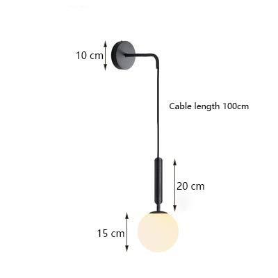 Moderne wandlampen nachttrap licht rond glas LED binnen wandlamp goud zwart Zwart - 1