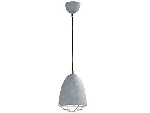 Dimbare LED hanglamp 1 lamp in INDUSTRIELOOK metalen kap met rooster in betonlook Ø 19 cm