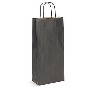 Preisvergleich Produktbild 1 Verpackungseinheit (25 Stück) 2er Flaschen-PapiertragetaschenB 180 mm x Falte 80 mm x H 390 mmFb. schwarz,  110 g / m²