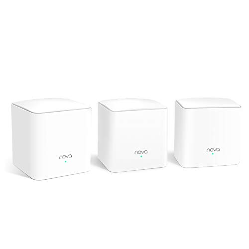 Tenda Nova MW5G Mejor Sistema WiFi Mesh, Gigabit Router ( AC1200 Doble Banda Cobertura hasta 300m², 2 * 1000Mbps Puertos, Hasta 80 Dispositivos, Compatible con Alexa, Control Parental, Blanco, 3 Hubs)
