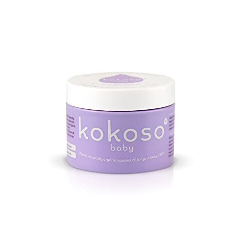 Kokoso Baby Organic Coconut Oil – Moisturising 100% Natural Baby Oil for Baby Massage, Dry, Sensitive and Normal Baby Skin – 70g