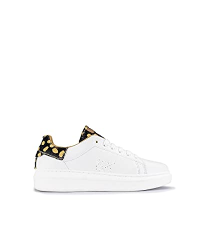 Deportivo, Sneaker Modelo valnera en Piel Color Blanco de Mujer, tercipelo Print Dots, Marca Popa.
