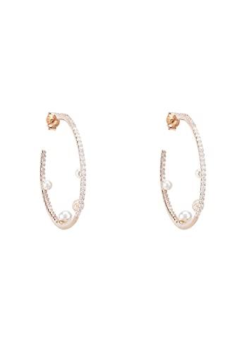 LATELITA Pendientes de aro Pearl & Sparkles Rosegold