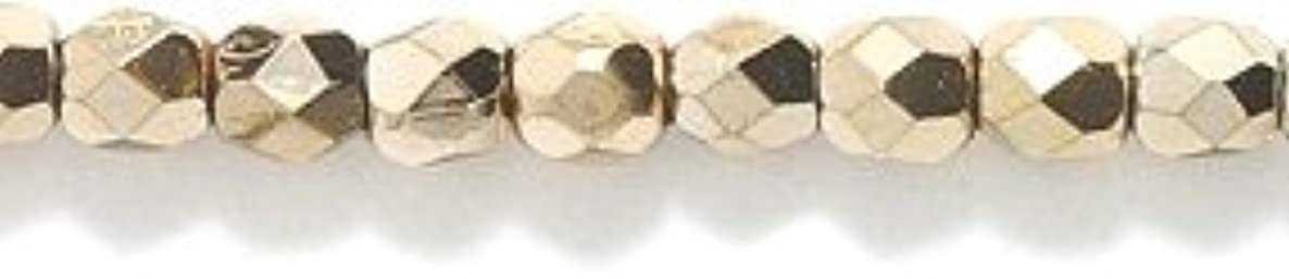 Preciosa Czech 3-mm Fire-Polished Glass Bead, Faceted Round, Full Coat Metallic Gold, 200/pack
