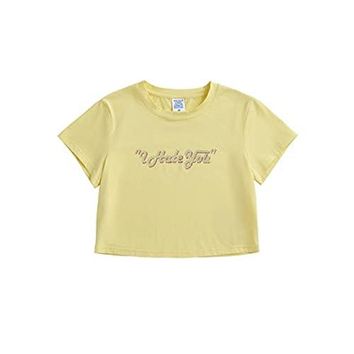 SLYZ Mujeres Europeas Y Americanas, Inglés Creativo, Perforación En Caliente, Cuello Redondo Corto, Manga Corta, Camiseta para Mujer, Camiseta Deportiva para Mujer