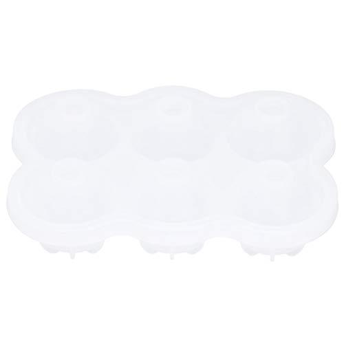 Molde de silicona para hockey sobre hielo, molde de silicona para bolas de hielo de 6 rejillas con orificio con fugas Bandeja de hielo redonda para cocina, barra de hogar