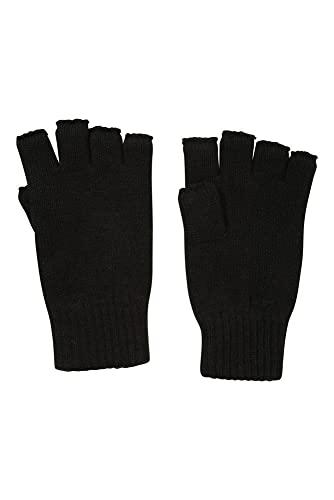Mountain Warehouse Gants tricotés Fingerless - Mitaines légères, tricotées, Poignets à Nervures, Gants Chauds - Marche, Cyclisme, Vie Quotidienne Noir Taille Unique