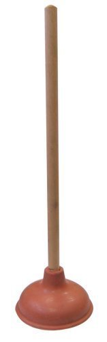 """Supply Guru SG1976 Heavy Duty Force Cup Rubber Toilet Plunger with a Long Wooden Handle to Fix Clogged Toilets and Drains (18"""")"""