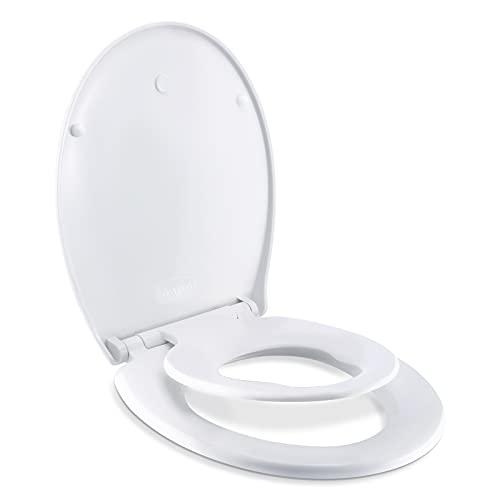 Gomyhom Tapa WC Familiar, Tapa Inodoro Blanco, Función de Descenso Lento, Extracción con un Solo Toque, Asiento de Inodoro Universal para Niños y Adultos