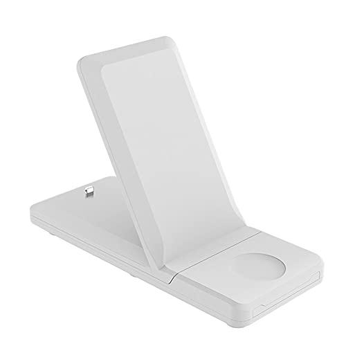 bulingbuling Cargador inalámbrico 3 en 1 H6 Carga rápida estación del Muelle del Soporte Plegable Titular 15W para el teléfono Inteligente de Pulsera Blanca