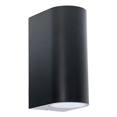Aplique de pared exterior de aluminio. Casquillo 2x GU10 para LED y halógeno. Pantalla difusora de cristal claro. Color negro