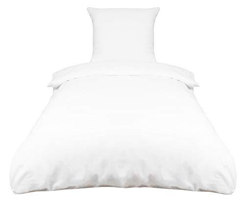 ZOLLNER 2-TLG. Renforcé Bettwäsche, 100% Baumwolle, 80x80 cm + 140x200 cm, Weiß