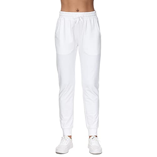 Pantalon de Sport Femme Coton Bas de Jogging avec Poches pour Fitness Yoga Course - Bien Confortable et Doux(Blanc M)