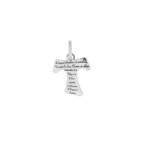 Padre Nostro - Ciondolo croce tau in Argento 925 con preghiera incisa rodiato pendente 17x14M
