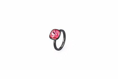 Brosway - SENSUALITA' - Anello TRING mis18 acciaio pvd nero e swarovski indian pink BTGC83D